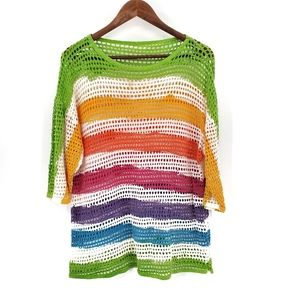 Womens Colorful Mesh Striped Swim Coverup Medium